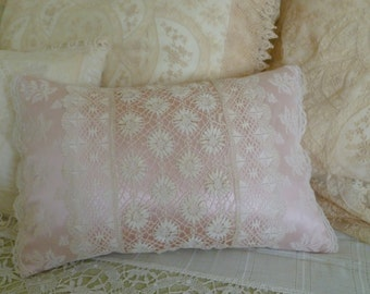 Antique lace boudoir pillow.  Handsewn antique lace on new blush  pink silk crepe de chine.