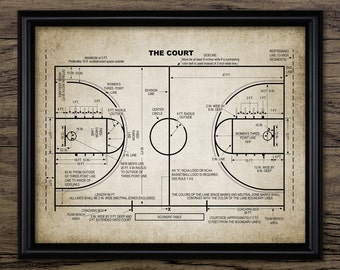Basketball Court Patent Print - Basketball Court Design - Basketball Player Gift Idea - Single Print #1478 - INSTANT DOWNLOAD