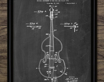 Double Bass Patent Print - 1934 Double Bass Design - Stringed Instrument - Classical Music Orchestra - Single Print #2035 - INSTANT DOWNLOAD