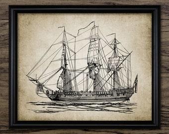 Vintage East Indiaman Sailing Ship Print - Sailing Ship Art - East India Company - Single Print #570 - INSTANT DOWNLOAD