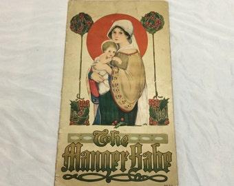 The Manger babe 1916 Verses by Isabel Byrum Margaret Evans Price Art Stecher litho