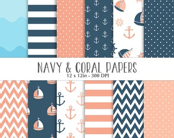 ON SALE Nautical Navy Coral Papers - Scrapbooking Papers - Commercial Use - Sailboat - Anchor - Navy and Coral Nautical Papers