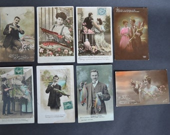 LOT OF 7 - Hand Tinted French Postcards - early 20th Century