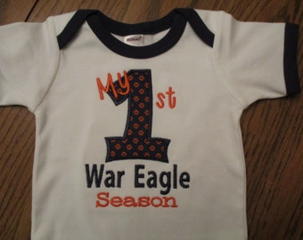 Auburn Onesie, Auburn shirt, My first War Eagle Season