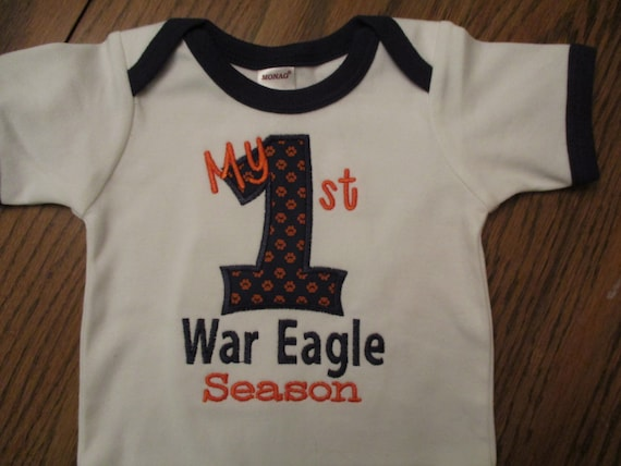 Auburn onesie auburn shirt my first war eagle season for Auburn war eagle shirt