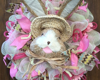 Burlap and Pink Bunny