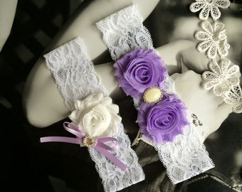 Lavender And White Wedding Garter Set,Light Purple and White Bridal Garter Set,Lilac Bow Garter With Ribbon MG197