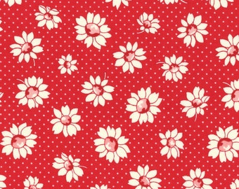 Daisies - Red (31281-30) by Lecien Cotton Fabric Yardage Floursack Retro Fabric