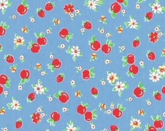 Cherries - Blue Jay (31282-77) by Lecien Cotton Fabric Yardage Floursack Retro Fabric