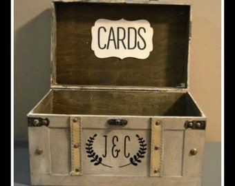 Large Vintage Wedding Card Suitcase Trunk, Vintage Rustic Wedding Card Box with initials, Vintage Trunk Wedding Box with Custom Initials A2A