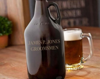 Personalized growlers beer amber monogrammed customized monogram engraved custom barware to go jug containers bottles glass RR11780