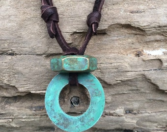 Mens Deerhide Necklace With Patina Nut and Washer #1009