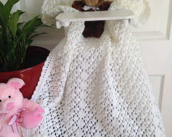 Lacy Baby Afghan - White