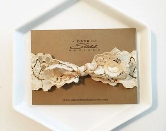 Headband - Ivory Stretch Lace Headband dark ivory gold lace