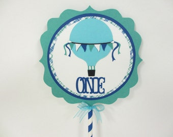 Hot Air Balloon Birthday Party Shower Smash Cake Topper Aqua Turquoise Royal Blue Teal