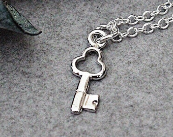 Silver Key Necklace, Skeleton Key Pendant, Silver Key Charm Necklace, Dainty Key Necklace, Silver Minimalist Necklace, Key Necklace