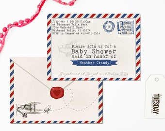 baby shower invitation airplane vintage airplane baby shower
