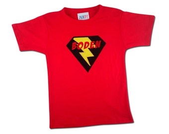 Boy's Superhero Shirt with Lightning Bolt and Embroidered Name
