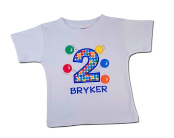 Boy's Birthday Shirt with Bouncing Balls, Number and Name - F76