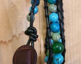 Turquoise & Jade, Leather Wrap Bracelet