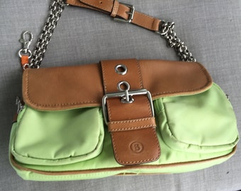 REDUCED! Bogner Apple green nylon and camel colored leather handbag