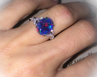 Natural Black Australian Opal Ring 18k White Gold & Genuine Diamonds RARE Coober Pedy Mine Opal Triplet Fashion Birthstone Anniversary Ring