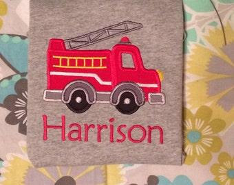 Fire Truck Applique Shirt