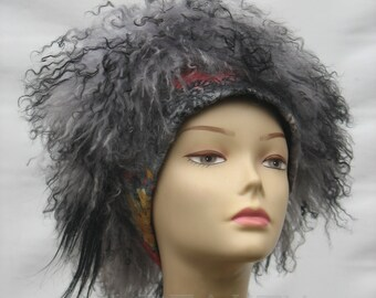 Handmade Felt hats Unique Felt Hats winter Hat  millinery hat womens hats trendy winter fashion Kubanka llama fur Women's Fur Hat