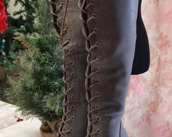 Bohemian Lace Up Goddess~Gypsy Cafe Brown Lace Up Boots Size 6