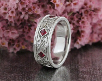 Celtic Wedding Band Princess Cut Ruby Ring In 14k White Gold Anniversary For Men Or