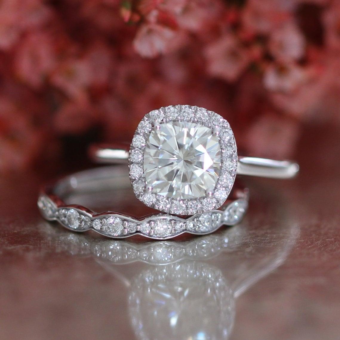 bridal set moissanite engagement ring and scalloped diamond