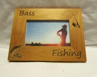 Personalized Wooden Picture Frame- Bass Fishing