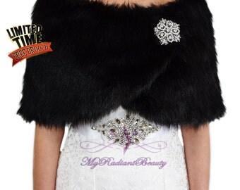 Faux Fur Stole, Black Fur Shawl, Bridal Shrug, Wedding Fur Wrap, Faux Fur Wrap, Bridal Wrap, Wedding Stole, Bridal Stole FW108-BLK