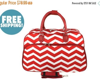 """Moms Sale Pre-Packed Deluxe """"Big Day"""" Maternity Hospital Labor Bag - Chevron Red"""