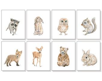 Woodland Animal Prints Forest Animal Prints Woodland Nursery Art Gender Neutral Art Bear Deer Bunny Rabbit Fox Squirrel Owl Raccoon Set of 8
