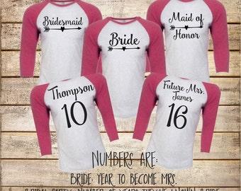 Bridesmaid Baseball Shirts Bridal Party Raglans Personalized Bachelorette Party Tees (BR023) b2