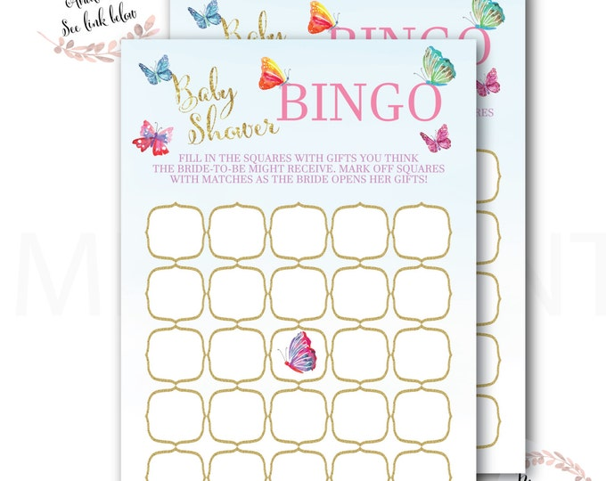 Butterfly Baby Shower Bingo // Butterflies  // Games // Yellow // Pink // Mint // Gold Glitter // Printed // CORDOBA COLLECTION