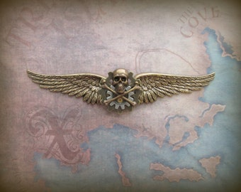 """Steampunk """"Pirate Captain"""" Skull and Crossbones Brass Wings Pin"""