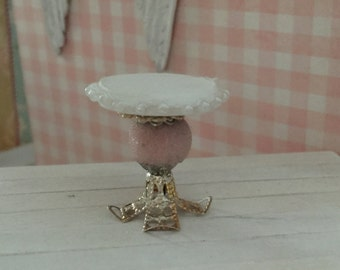Shabby Chic Miniature Cake Stand with Pearl Trim