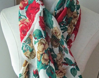 Vintage Gorgeous Red Rose printed Wool Challis Scarf, Club 7 Echo