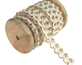 Jute Lace Mesh Wooden Spool, 1/2-Inch, 10 Yards