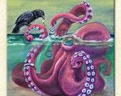 "Cute whimsical weird fun octopus raven crow best friends gift trading watch wristwatch seashell 4x4 8x8 12x12 ART PRINT - ""For You"""