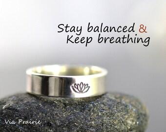 Yoga reminder ring, Lotus ring, Lotus flower ring, Lotus Jewelry, Zen ring, Yoga jewelry, Yogi ring, Zen gift for her, 925 Sterling silver