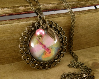 Pastel Dragonfly Necklace, Vintage Style Necklace, Bronze, Pink Pearl Drop, leaf charm, Filigree Pendant, Victorian, Girly Gift, Colorful