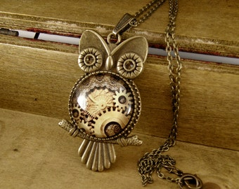 Steampunk Owl Necklace, Vintage Style Necklace, Bronze, Steampunk Pendant, Steampunk Jewelry, Gears, Watch Movement Necklace, Swarovski
