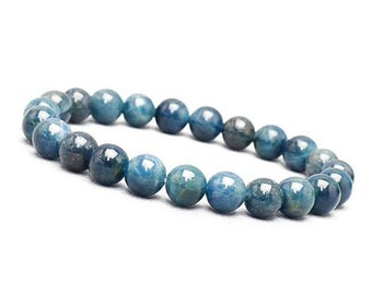 8mm Blue Apatite Bracelet, Genuine Apatite Bracelet, Blue Beaded Bracelet, Apatite Mens Beaded Bracelet,Apatite Jewelry,Bead Bracelet Women