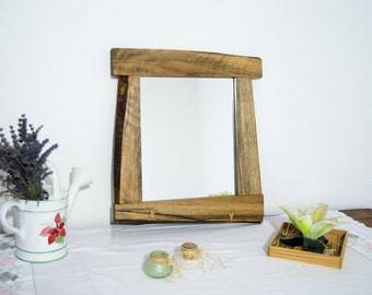 "Unique wood mirror- Rustic mirror- Interior design- Furniture- Fine product- Wall decor- Natural wood- Walnut- Wood mirror- 15""x16"""