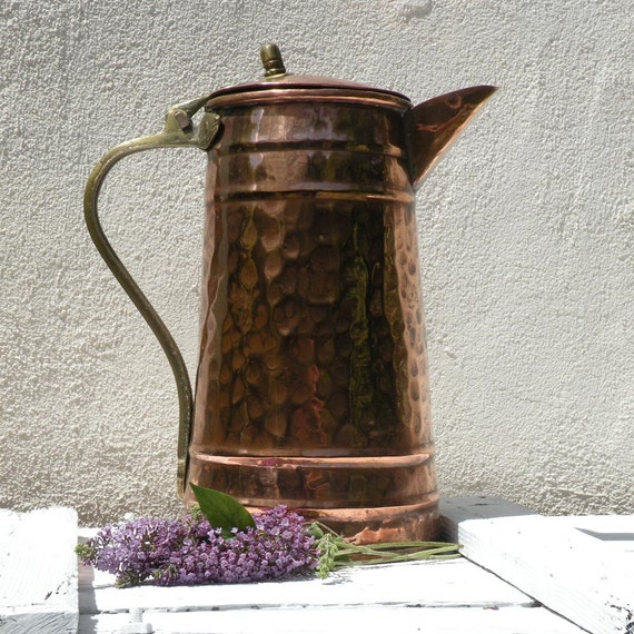 Large French vintage copper pitcher, rustic copper jug, vintage copperware, country home, cottage chic, French farmhouse, copper & brass