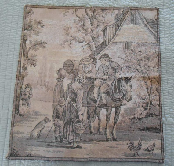 Country French Toile Pillow Square Vintage Tapestry