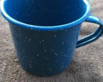 Coffe Cup : Blue with White Speckles metal Coffee Cup-